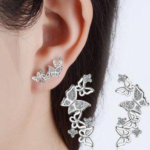 NEW Sterling Silver Diamond Butterfly Earrings